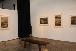 The initial section of Gallery 478. Sit and contemplate the art while sitting on the bench made by Gregg Shirk.