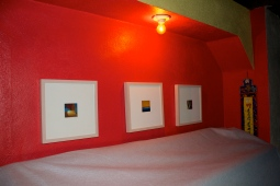 """Arnée's 3""""x3"""" original photos, also displayed in the bathroom downstairs."""